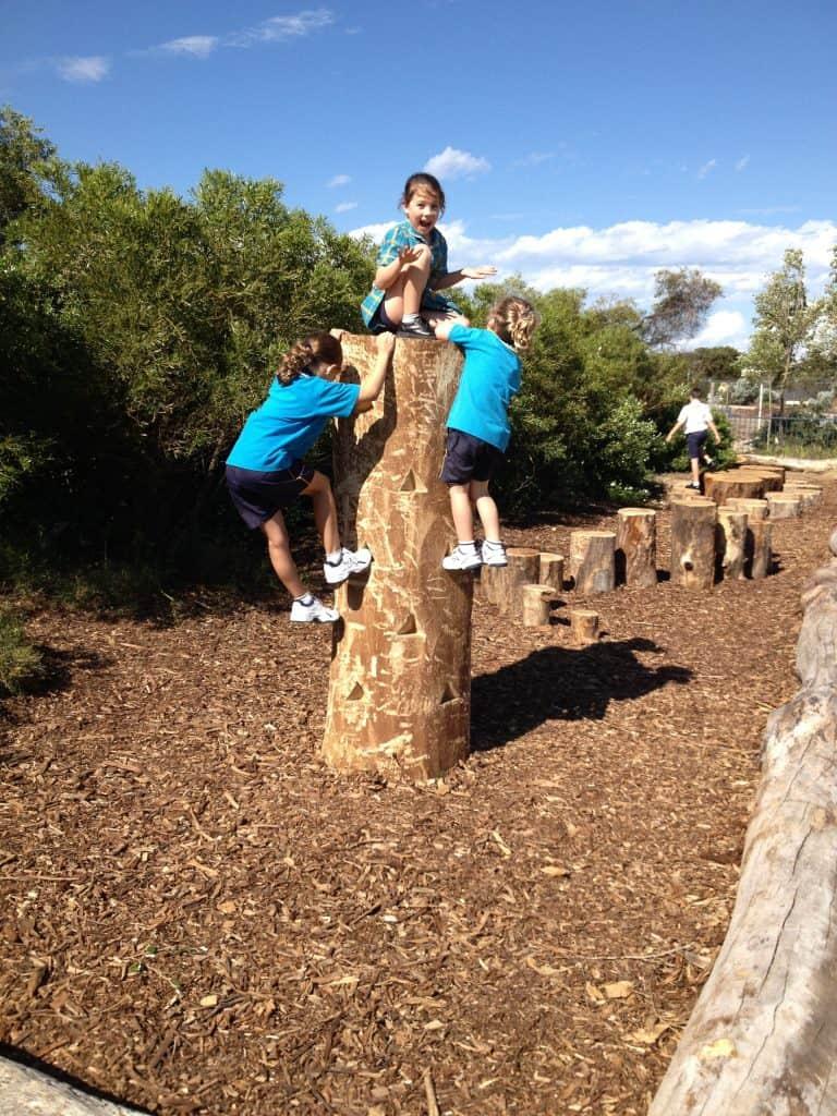 Kids on climbing stump